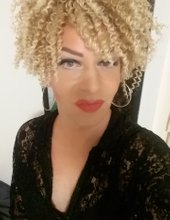 Blond afro chick