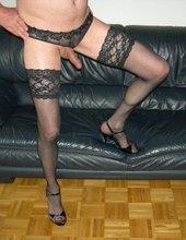 In black Lingerie and Heels